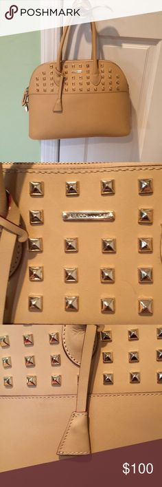 Rebecca Minkoff studded purse Camel colored with gold studs / comes wit lock and key  / pocket inside & back of the purse Rebecca Minkoff Bags Satchels