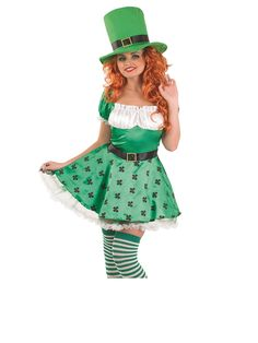 Showcase your own lucky shamrocks when you don this ladies Sexy Irish Leprechaun Costume. You'll be bringing the luck of the Irish to everyone all night long when you look this good. Leprechaun Costume, Irish Leprechaun, St Patrick's Day Costumes, Halloween Costumes, Irish Potatoes, Irish Pride, Girl Dancing, Size 16 Dresses, Printed Skirts