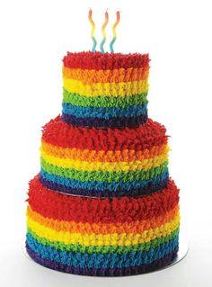 Colourful rainbow cake