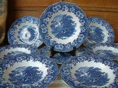 One English vintage blue transferware soup by chanterellevintage