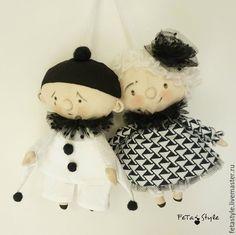 Купить Пьеро и Пьеретта Черно-белый Дель арте Игрушка на Елку - игрушки на елку
