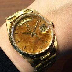 ref. 18078 daydate yg18k Birch wood dial
