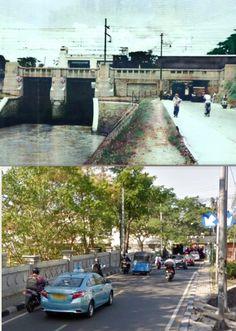 Pintu Air dan Jembatan KA di Manggarai, Jakarta, 1953, ,., Pintu Air dan Jembatan KA, Manggarai, Jakarta, 2017 Jakarta, City, Cities