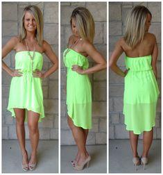 neon green strapless everyday dress