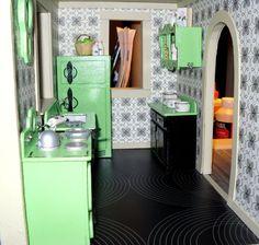 Miniature dollhouse vintage retro kitchen set by BNminiatures, $45.00