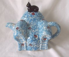 Teapot - Chintz Blue and Roses Armchair Teapot with Black Cat by Swineside Ceramics c.1950 by Potteryitems on Etsy