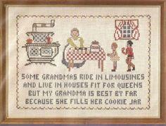 "Vintage ""Grandma's Cookie Jar"" Stamped Cross Stitch Sampler Kit NIP"