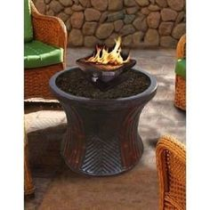 Outdoor Fabric By The Yard | Rattan Bistro Table with Square Capri Fire Pit Table Deck Patio ...
