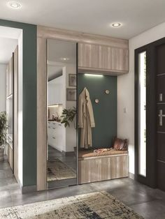 Locker room entry with storage hook and closet made in France Corridor Design, Foyer Design, Home Room Design, Home Entrance Decor, House Entrance, Hallway Furniture, Home Decor Furniture, Armoire Entree, Minimal House Design