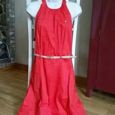 """Calvin Klein Coral Halter Dress EUC! Worn once or twice. No flaws. Approximately 34"""" long. 97% cotton and 3% spandex. Stretchy material. Comes with gold belt. Calvin Klein Dresses Midi"""