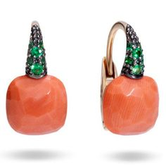 Orsini Fine Jewellery Coral and Tsavorites 18k Gold Earrings Aussie – Orsini Fine Jewellers