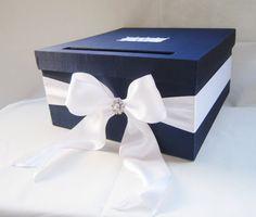 PRETTY IDEA! Wedding Card Box Navy Blue White Money Holder by LittleDivine, $59.00.