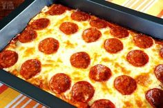 Easy gluten free low carb pizza casserole for a simple keto meal.