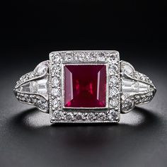 Vintage Jewelry Art A ravishing, rich, red ruby (about as red as they come), weighing carats, radiates from the center of this finely crafted platinum and diamond Art Deco ring. Square Diamond Rings, Art Deco Diamond Rings, Diamond Art, Art Deco Ring, Art Deco Jewelry, Jewelry Design, Ruby Jewelry, I Love Jewelry, Fine Jewelry