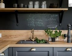 Barn Kitchen, Wooden Kitchen, Kitchen Pantry, Country Kitchen, New Kitchen, Kitchen Decor, Design Your Home, Black Kitchens, Black Walls