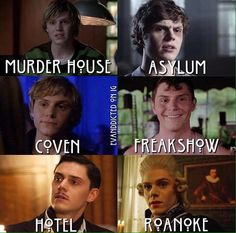 Evan Peters as Tate, Kit, Kyle, Jimmy, James, and Edward