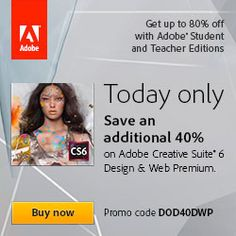 Today only. Get 40% Adobe off Design & Web Premium. Enter code: DOD40DWP