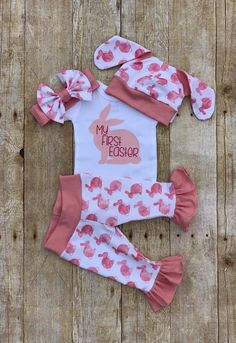 980685313c0ee Baby Girl First Easter Ruffle Outfit, Bunny Rabbit Easter Set, Pink Bunny  Hat,