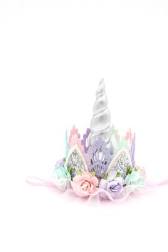 Unicorn flower lace crown headband silver pink lavender