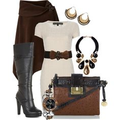 Poncho Brown by stylesbyjoey on Polyvore featuring Ralph Lauren, Lauren Ralph Lauren, BCBGMAXAZRIA, Brahmin, Moran Porat Jewelry, Isharya, Gucci, sweater dresses, wide belts and knee high boots