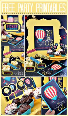 Oz The Great Free Party Printables-Invitations-Movie Tickets-Cupcake Toppers-and Mini Banners & Photo Props
