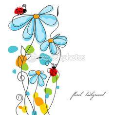 История любви цветы и Божьи коровки — Stock Illustration #5687972