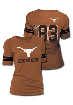 Texas Longhorns T-Shirt- Junior Women's Texas Orange Sport V-Neck