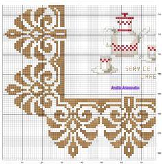 Cornice completa in foglie d'acanto Mini Cross Stitch, Cross Stitch Borders, Crochet Borders, Cross Stitch Flowers, Cross Stitch Designs, Cross Stitching, Cross Stitch Embroidery, Bead Crochet Rope, Crochet Cross
