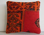 wool cushion sofa throw pillow kilim cover color vintage decor primitive decor burlap pillow country pillow tribal rug red orange pillowcase