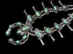 175g Vintage Navajo Sterling Silver Squash Blossom Necklace w Dreamy Blue-Green Carico Lake Turquoise! Beautiful Colors! Classic Design!