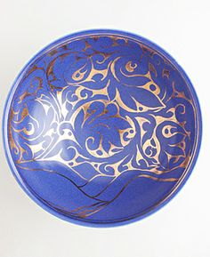 """Gold Lustre Bowl """"Great Winter is coming"""" hand-painted by Miranda Thomas"""