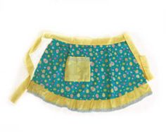 FLASH SALE Yellow Easter Apron  Eggs apron, Easter gift for Grandmother Cute Half apron for Easter, Coloring Easter eggs apron with Pocket by blingscarves. Explore more products on http://blingscarves.etsy.com