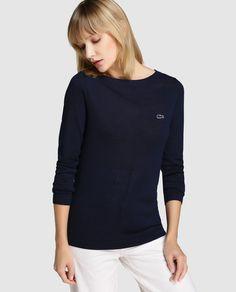 Jersey básico de mujer Lacoste con escote redondo