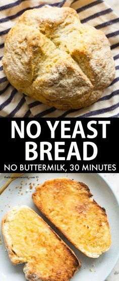 No Yeast Soda Bread minutes!) No Yeast Emergency Bread recipe- Quick, easy and NO fancy gadgets needed. No buttermilk, no eggs and no dairy needed- 6 ingredients and 30 minutes total- Vegan, gluten free, dairy free. Gluten Free Bread Recipe No Yeast, Easiest Bread Recipe No Yeast, Gluten Free Bread Maker, Gluten Free Quick Bread, Yeast Free Recipes, Yeast Free Breads, No Yeast Bread, Bread Maker Recipes, Easy Bread Recipes