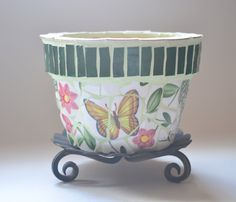 Mosaic Flower Pot with Butterfly Motif by Mosaicsmadewithlove, $50.00