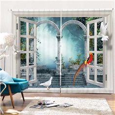 3D Printing Window Curtains Mural Vintage Village House Blockout Drapes Fabric