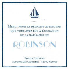Carte de remerciement (thank you card) : Merci Petit bateau - by Louise Pianetti pour http://www.fairepartnaissance.fr #naissance #remerciement #birth
