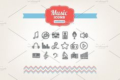 Hand drawn music icons by miumiu on @creativemarket