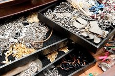 I actually got the inspiration for my jewelry display from an old Domino (magazine) tear sheet. I love the look of over-spilling jewelry. My friends have compared my jewelry chest-of-drawers to a pirates treasure chest! Domino Jewelry, Pirate Treasure Chest, Jewelry Chest, Miu Miu Ballet Flats, Jewellery Display, Tangled, Glamour, Shoulder Bag, Jewels