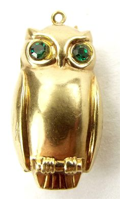 Vintage 9ct Gold OWL Charm Emerald Green EYES 1975