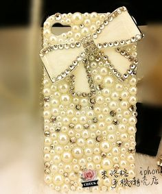 1PC Bling colorful white bow rhinestone phone case for iPhone 4 Case.iPhone 4s Case, iPhone 5C Case, iPhone 5 Case iphone 5s case on Etsy, $18.99