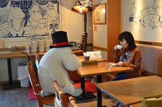 At Moomin café in Tokyo, solo diners are seated with large stuffed animals so they don't get sad. Photo: Jin