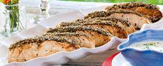 Posta de Peixe com Crosta de grãos e Creme de Iogurte