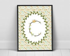 Blooming Branches Monogram Letter in Laurel by LilleMusStudio, $5.00