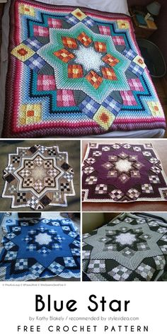 Great Blue Star Crochet Afghan Free Pattern  #crochet #afghan #freepattern