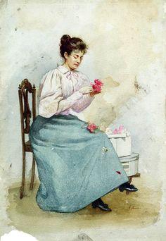 Девушка с цветами.Маковский Константин Егорович.