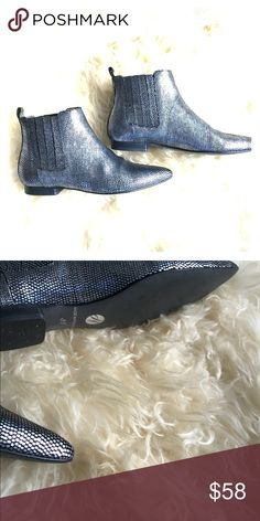 Metallic Chelsea boots Worn only once- shiny leather. Dress them up or down- so fun & chic! H By Hudson Shoes Ankle Boots & Booties