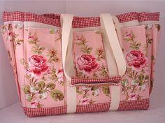 Pink Cabbage Rose Cottage Travel Tote Bag by susanskeepsake