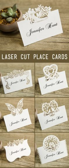 Luxurious Butterfly Laser Cut Wedding Place Card Love Hear Design Bride and Groom Name Place Cards