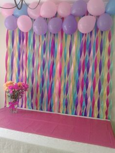 For me / use red yellow black balloons . Maybe red streamer . hang birthday banner over that. Unicorn Themed Birthday Party, Unicorn Birthday Parties, Diy Birthday, Unicorn Party, Mermaid Birthday, Birthday Ideas, Balloon Decorations, Birthday Party Decorations, Fete Emma